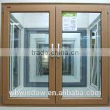 Wood color double-sash PVC/UPVC tilt and turn windows, PVC/UPVC inward opening glass windows and doors