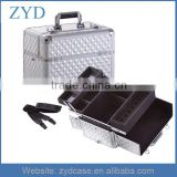Professional Diamond Aluminum Cosmetic Train Case Makeup Nail Brush Kit Bag ZYD-HZMmc025