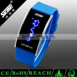 Colorful cheap silicon rubber colorful blue light led watch teen