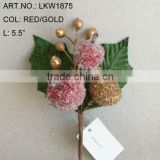 "2014 New Artificial Christmas Red/Gold Flower Pick 5.5"" Artificial Fruit Flower With Berries"