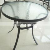 Outdoor round cafe alumium glass top table