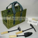 2012 Newest Green Wicker Picnic Coal Stock Basket Set