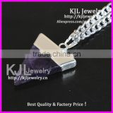 KJL-A0402 Triangle Amethyst Quartz Gem Stone Healing Chakra Pendant fit Necklace, Charm agate stone pendant In Silver bail