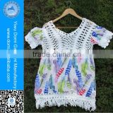 Domi Newest Handmade Crochet Beach Dress Printed Cotton Swim Cover Up Women
