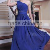 Professional evening dress made blue one-shoulder long dress