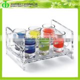 DDW-S040 ISO9001 Chinese Factory Made SGS Test Crystal Clear Plastic Cup Holder Tray for Wine Bars