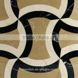 Foshan factory wall tile panel mixed nero magiua and beige color composite marble ceramic backed wall and floor