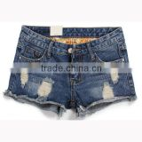 OEM Wholesale Fashion Europe Women Casual Sexy Ripped High Waist Denim Short Cloth Skinny Vintage Torn Plus Size Jeans Shorts