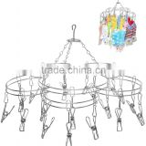 Modern Stainless Steel Metal 20 Clip Ring Design Hanging Clothespins / Garment Drying Rack