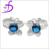 925 sterling silver stud earring butterfly shape with zircon wholesale low price