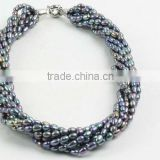 B grade peacock blue rice pearls-8 strings necklace