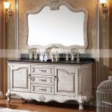 WTS8033 antique white elegant design 62'' double oval sinks bathroom vanities cabinets with black counter top
