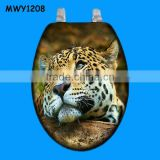 Tiger pattern printed Polyresin toilet seat cover