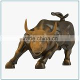 outdoor Garden life size Bronze or Brass Wall Street Bull Sculpture