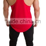 Mens custom 100% polyester cooldry red with white printed logo on front chest and back curved bottom sports stringer vest