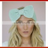 New Woman Bow Knitted Winter Headband/Girls Knitted Hair Bow Flower Headband In Stock/Women's Acrylic Winter Bow Knit Headband