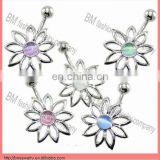 316 stainless steel body jewelry flower design free belly button ring piercing