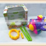 pull and push sticker plastic musical flashing cartoon battery operated block toy helicopter