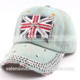 Ladies Summer Sports Hat Rhinestone Crystal HERO Blue Jean Bling Baseball Hat