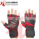 Genuine Leather Weight Lifting Gloves, Black And Red Fitness Training Weight Lifting Gloves