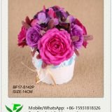 14cm Artificial Rose and Hydrangea Flower Arrangement in Plastic Pot