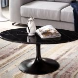 Modern Fiberglass base marble oval tulip dining table