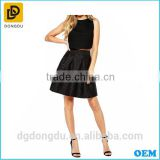Factory price OEM ham style short high waisted bubble umbrella mini black skirt