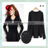Long sleeve lace black shirt for women