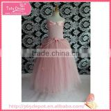 Ruffle pink gauze beads ornamentation prom dress fluffy voile girl's dress children frocks designs