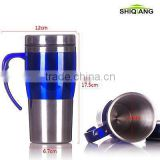 450ml double wall insulated stainless steel coffee mugs with handle BL-5061 ,different color available