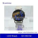 Mirror face led watch for young women with alloy band, roll ball led lights,alloy watch case
