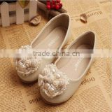 2015 Newest korean style lovely girl princess shoes kids heart pearl single shoes