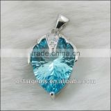 925 Sterling Silver Natural Blue Topaz Pendant