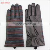 Ladies rainbow colorful woven stiching dress leather gloves winter fashion leather gloves