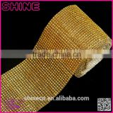 Wholesale 24 raws 3mm acryl gold base hot fix rhinestone mesh/net/sheet, rhinestone mesh trimming
