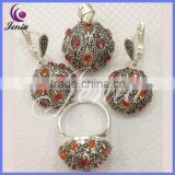 New products high quality thai silver round design red garnet bulk fashion jewelry china ( 0694T8)