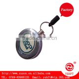 chrome metal zinc alloy retractable key chains with big belt clip and epoxy logo for business