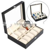 New HOMDOX Synthetic Leather Glass Window 10 Slots Watch Storage Display Box Jewelry Case Black OS004749