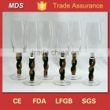 Handblown twisted thick black stem champagne flute