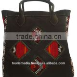 Wholesale handmade Moroccan kilim tote bags genuine leather handwoven kilim handbag ref010