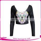 plain customized cheerleading black crop tops for ladies