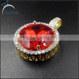 hip hop 2 tone color ruby pendant