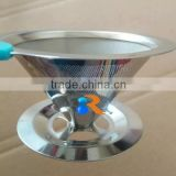 trade assurance 18/8 stainless steel reusable ultra fine mesh pour over cone coffee filter