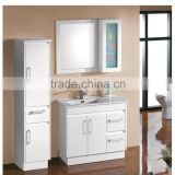 Modern 28 inch small size single integrated ceramic basin solid wood bathroom vanity