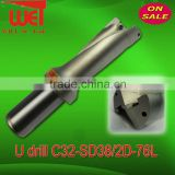 2x Diameter Indexable insert drill bit U-drills