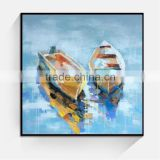 Thick oil handmade boat scenery canvas painting art
