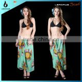 2014 sunflower printed beachwear cheap pareo sarong