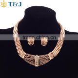 2016 African style exaggerate jewelry set golden crystal jewelry set bridal wedding accessories