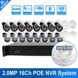 Camera Security System 2MP Bullet IP Camera Video 16ch PoE NVR Recorder System Kit 16 CH PoE NVR,Support Max to 16TB                                                                         Quality Choice