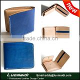 Vegetable tanned leather men wallet , fashion blue bifold wallet with coin pocket for man from China Guangzhou manufacture